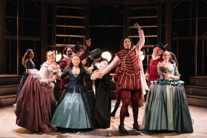 The cast of Emilia at the Vaudeville Theatre. Photo credit Helen Murray.
