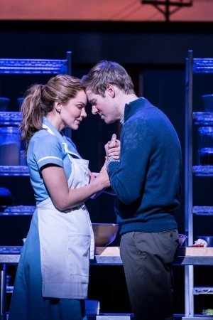 Waitress at the Adelphi Theatre: Katharine McPhee as Jenna and David Hunter as Dr-Pomatter.