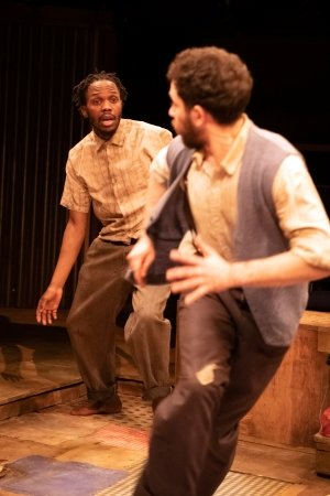 Kalungi Ssebandeke and Nathan McMullen in BLOOD KNOT by Athol Fugard - Orange Tree Theatre - photo by Richard Hubert Smith.