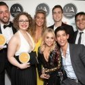 Paul Taylor Mills, Carrie Hope Fletcher, Jodie Steele (behind), Jamie Muscato (behind), Sophie Isaacs (front), Christopher Chung (front), Nathan Amzi (behind) - photo by Dan Wooller.
