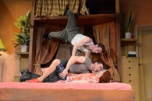 Jack Whittle (Sam Monaghan), Gareth Tempest (Mitch Ruscitti) and Emily Stott (Caprice Freeboys) (c) Robert Day.