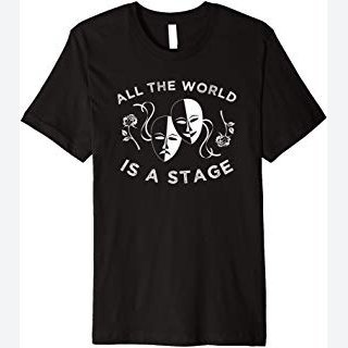 Stage Play Theater T-Shirt, Acting Drama Mask Theatre Tee
