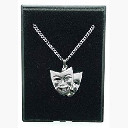 Fine Quality English Pewter Pendant Necklace Gift, Theatrical Masks Design