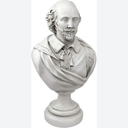 Design Toscano William Shakespeare Bust Statue, Desktop, Polyresin, Antique Stone, 30.5 cm