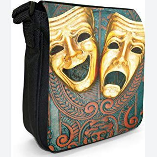 Ornate Tragedy & Comedy Theatre Masks Small Black Canvas Shoulder Bag / Handbag