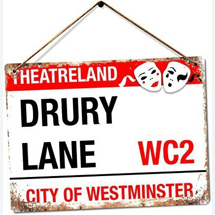 Drury Lane - Theatre Land | Twine - Metal Wall Sign Plaque Art