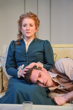 Creditors - Jermyn Street Theatre. Tekla (Dorothea Myer-Bennett) and Adolf (James Sheldon). Credit - Robert Day.
