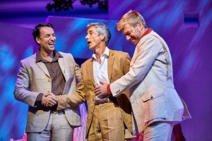 Neil Moors as Harry, Richard Trinder as Sam & Stephen Beckett as Bill in MAMMA MIA! Credit Brinkhoff & Mögenburg