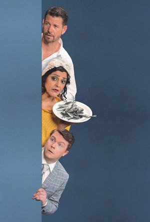 Noises Off at the Lyric Hammersmith. Top - bottom Lloyd Owen, Meera Syal, Daniel Rigby. Photo by Johan Persson