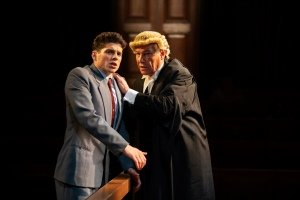 Lewis Cope and Simon Dutton in Witness for the Prosecution. Credit Ellie Kurttz