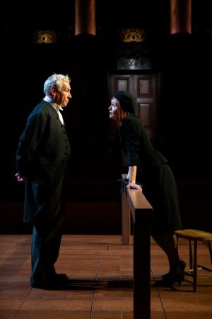 Simon Dutton and Carolin Stoltz in Witness for the Prosecution.