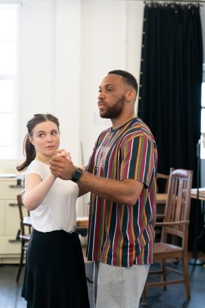 Gemma Sutton (Katherine Draper) and Shaq Taylor (Joe Scott) in rehearsals for Girl From the North Country, Photographer Johan Persson.