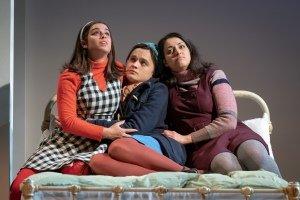Georgia May Foote as Vita, Hannah Bristow as Fran, Mona Goodwin as Tina in NAPOLI, BROOKLYN. Credit Marc Brenner.