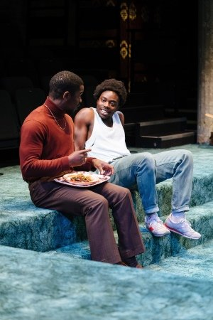 l-r Tok Stephen as Alvin and Jonathan Ajayi as Errol in 'Strange Fruit' at the Bush Theatre. Photo credit Helen Murray.