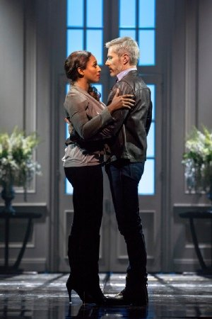 Alexandra Burke 'Rachel Marron' and Benoît Maréchal 'Frank Farmer' in The Bodyguard UK Tour - Photo by Paul Coltas.