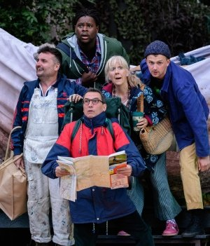 Lee Mengo, Tomi Ogbaro, Gareth Snook, Liz Crowther and Joshua Miles as Snout, Snug, Quince, Starveling and Flute. Photo Jane Hobson.