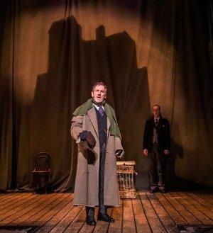 THE WOMAN IN BLACK. West End Cast. Matthew Spencer 'The Actor' and Stuart Fox 'Arthur Kipps'. Photo Tristram Kenton.