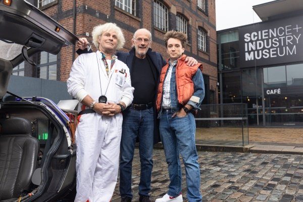 LtoR Roger Bart (Doc Brown), Christopher Lloyd & Olly Dobson (Marty) at the Manchester launch for Back to the Future The Musical, credit Phil Treagus.