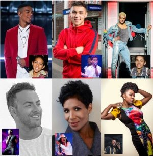 Past stars of Thriller Live: Kieran Alleyne, Shaheen Jafargholi, Layton Williams, Ben Forster, Denise Pearson and Cleopatra Higgins