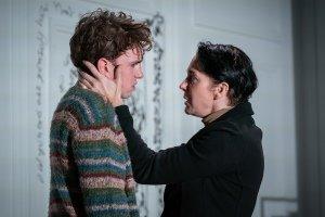 Laurie Kynaston (Nicolas), Amanda Abbington (Anne). Credit Marc Brenner.