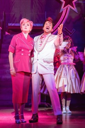Eloise Davies as Frenchy & Peter Andre as Teen Angel in the UK and Ireland tour of GREASE, credit Manuel Harlan.