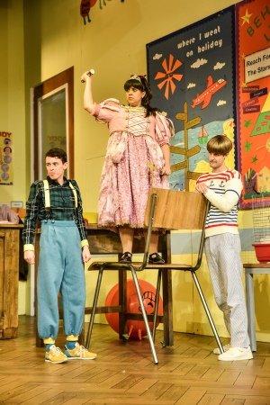 L-R - Jonathan Sayer (Simon), Nancy Zamit (Moon), Henry Shields (Archie). Photo Robert Day.
