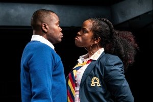 Anyebe Godwin and Rachel Nwokoro in LITTLE BABY JESUS by Arinzé Kene - Orange Tree Theatre - photo by Ali Wright.