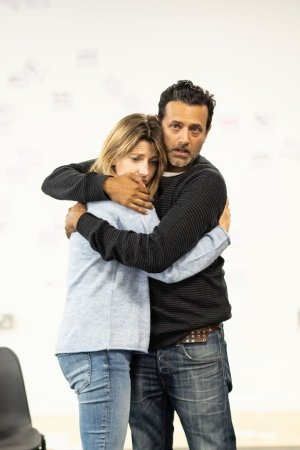 [L-R] Claire Goose (Thea) & Navin Chowdhry (Gil) - The Girl Who Fell - Trafalgar Studios - Rehearsal Images - Photograph by Helen Maybanks