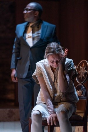 Vassa at the Almeida. Cyril Nri (Mikhail) and Alexandra Dowling (Lipa). Photo credit Marc Brenner