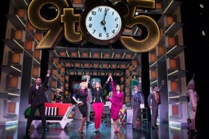 9 TO 5 THE MUSICAL. Natalie McQueen 'Doralee Rhodes', Caroline Sheen 'Violet Newstead', Amber Davies 'Judy Bernly' and company. Photo Craig Sugden.