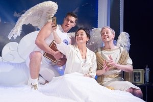 AN ACT OF GOD - Tom Bowen (Gabriel) Zoe Lyons (God) Michael (Matt Tedford) Photo Geraint Lewis.