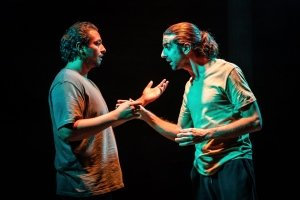 l-r Irfan Shamji (Samad) and Scott Karim (Tom) in 'The Arrival' at Bush Theatre. Photo by Marc Brenner.