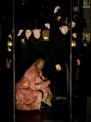 Paterson Joseph (Scrooge) and cast of A Christmas Carol at The Old Vic. Photo by Manuel Harlan.