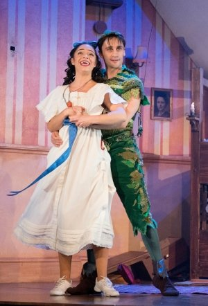 Peter Pan Goes Wrong: Katy Daghorn (Sandra) and Ciaran Kellgren (Jonathan).