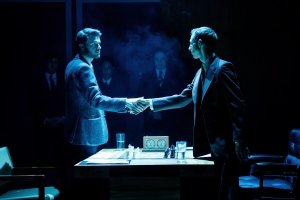 Ronan Raftery (Boris Spassky) and Robert Emms (Bobby Fischer) in Ravens Spassky v Fischer at Hampstead Theatre. Photo by Manuel Harlan.