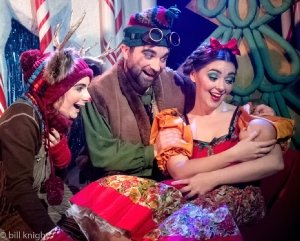LtoR Emily Cairns, Matthew Kellett & Meriel Cunningham in THE NATIVITY PANTO. Credit Bill Knight.