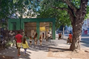 National Youth Theatre Capital Project South Entrance. View Credit NEW MASSING JW.