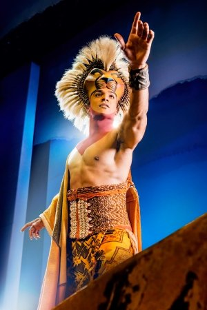 Nick Afoa as Simba in The Lion King. Pride Rock. Credit Dewynters Photography ©Disney.