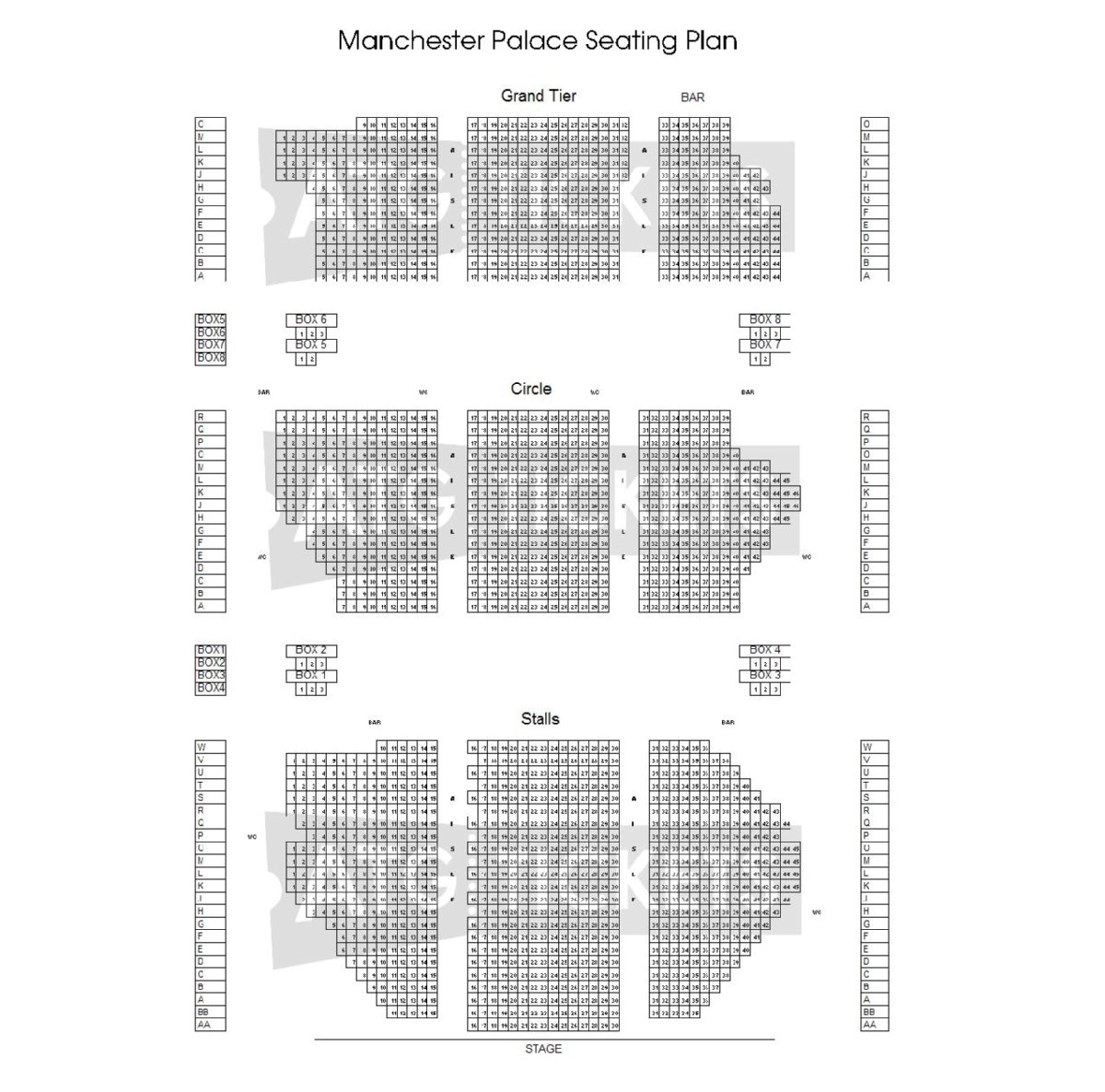 Palace Theatre Manchester Seating Plan