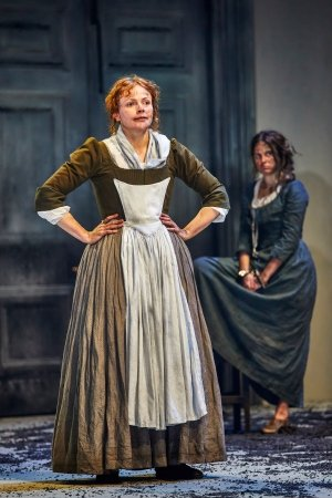 Maxine Peake (Lizzy Luke) and Ria Zmitrowicz (Sally Poppy) in The Welkin at the National Theatre. Photo by Brinkhoff-Moegenburg.