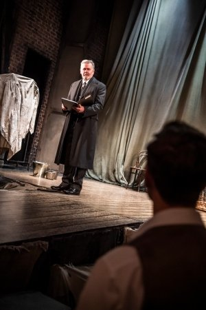 THE WOMAN IN BLACK. Terence Wilton 'Arthur Kipps' and Max Hutchinson 'The Actor'. Photo Tristram Kenton.