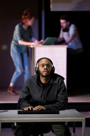 Enyi Okoronkwo (Zef) in The Haystack at Hampstead Theatre. Photo credit Ellie Kurttz.