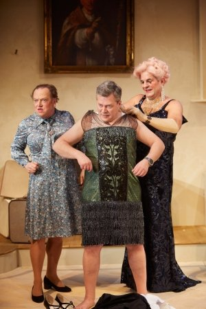Paul Hunter (Albin), Simon Hepworth (Mercédès) and Michael Matus (Georges) in La Cage aux Folles [The Play] at Park Theatre. Photo by Mark Douet.