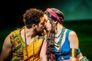 Luke Brady as Moses and Christine Allado as Tzipporah in The Prince Of Egypt, credit Tristram Kenton ©DWA LLC