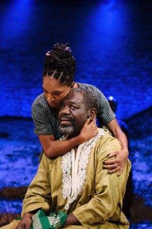 Cherrelle Skeete (Tara) and David Webber (Segun) in 'The High Table' at the Bush Theatre. Photo credit Helen Murray.