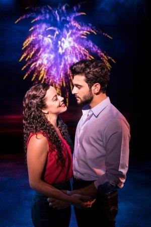 ON YOUR FEET. Philippa Stefani 'Gloria Estefan' and George Ioannides 'Emilio Estefan'. Photo Johan Persson.