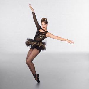 1st Position 1-Sleeved Sequin Mesh Unitard with Separate Tutu