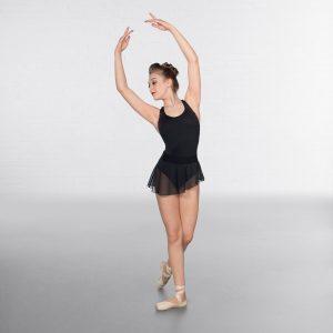 1st Position Asymmetric Mesh Skirt Black