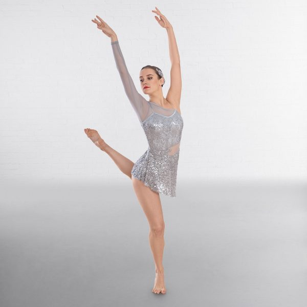 1st Position Asymmetric Sequin Lyrical Unitard with Mesh Panels