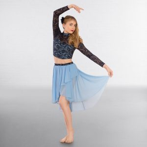 1st Position Contrast Two-Tone Lace Top and Lyrical Skirt